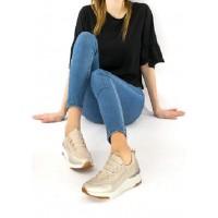Кроссовки бежево-золотые