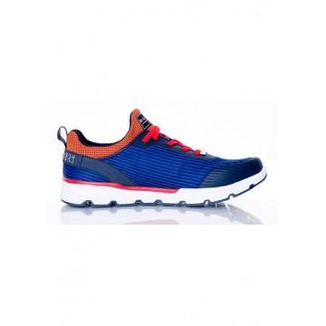Кроссовки сине-оранжевые из текстиля