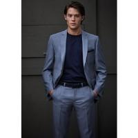Пиджак серо-голубой меланж костюмный