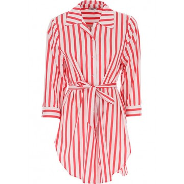 Chemise with an elongated red and white stripe