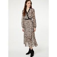 Платье беж леопард длинное