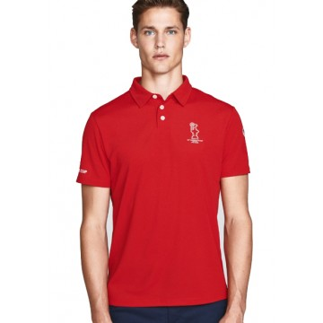 Polo shirt with short sleeves red