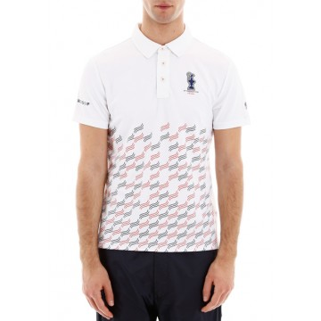 Polo shirt white with short sleeves and print