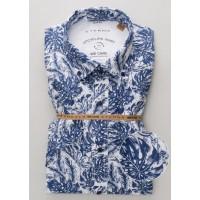 Сорочка бело-синяя принт