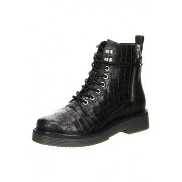 Black reptile boots