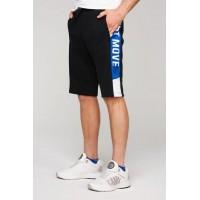 Спорт шорты черно-синий принт