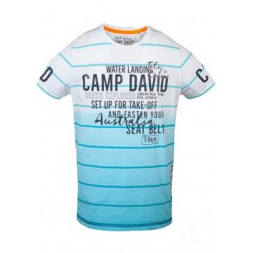 Голубая футболка c принтом