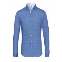 Рубашка мужская синяя в горох