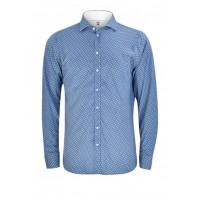 Рубашка мужская синяя в белый горох