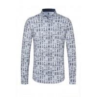 Рубашка бело-синяя принт