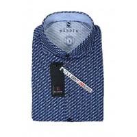 Сорочка  т. синий микродизайн