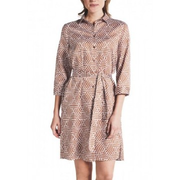 Платье коричневое принт