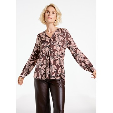 Блуза  коричневая принт