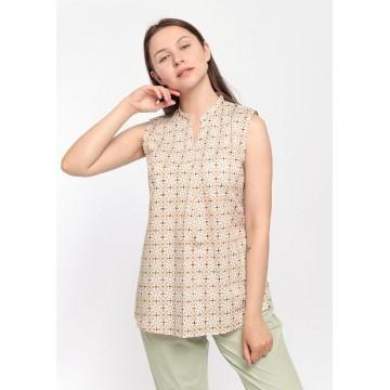 Блуза бело-бежевая принт