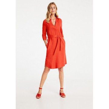 Платье оранжевое Casual лен midi