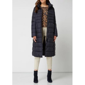 Coat navy blue with a hood