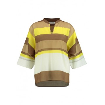 Blouse 3/4 brown-yellow stripe