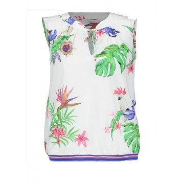 Blouse b / r Basic Fit rubber band white print flowers