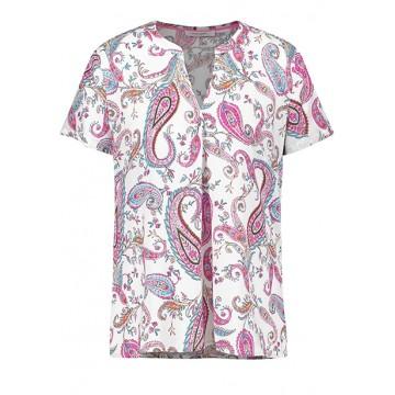 Блуза бело-розовая принт