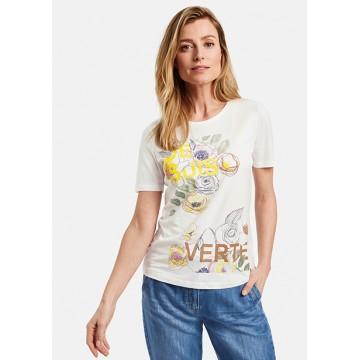 Белая футболка c желтым принтом