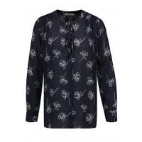 Блуза тёмно-синяя принт