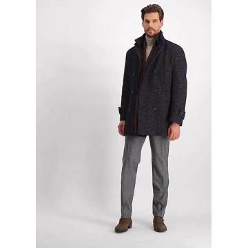 Пальто тёмно-синее микродизайн