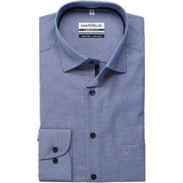 Сорочка синяя принт