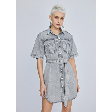 Light gray denim dress