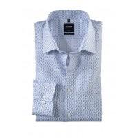 Сорочка бело-голубой микродизайн
