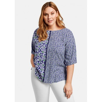 Блуза синяя принт