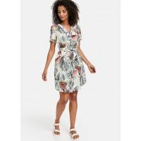 Платье бело-зеленое принт
