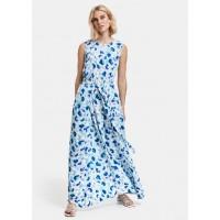 Платье голубое принт
