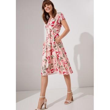 Платье розовое принт цветы