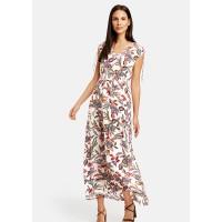 Платье беж принт цветы