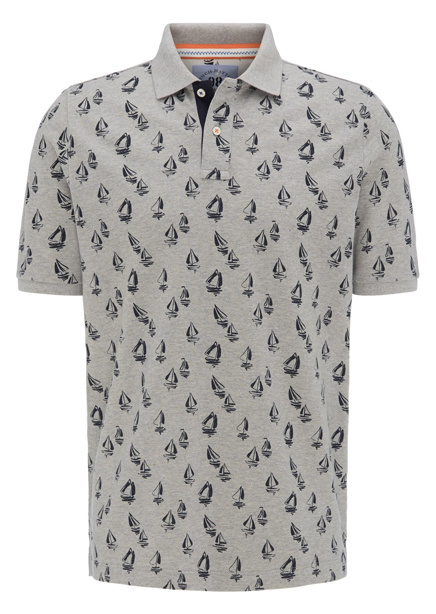 Polo shirt light gray print