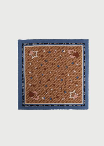 Neck scarf brown print