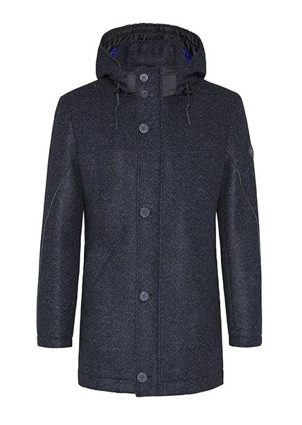The coat is dark blue