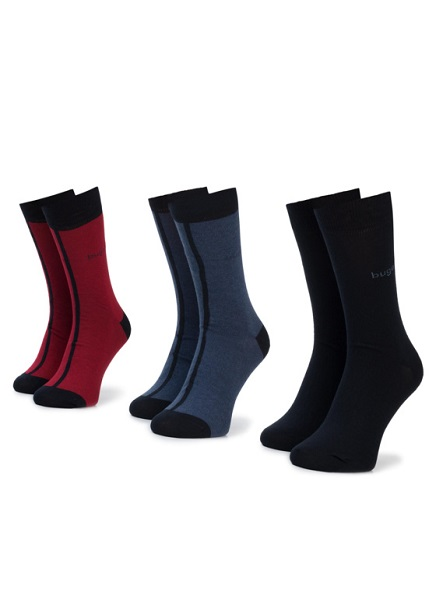 Set of socks with blue / dark blue / burgundy 3 pairs