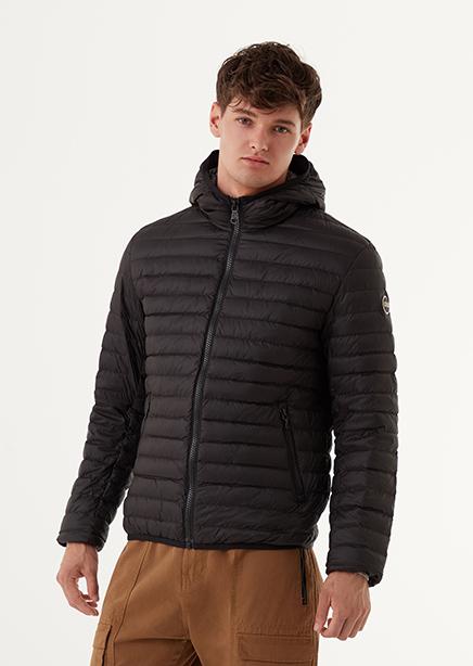 Down jacket black light