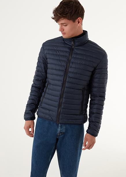 Down jacket light dark blue