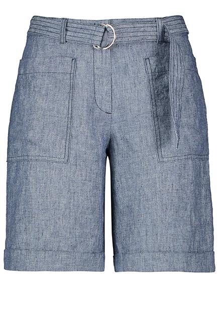 Shorts linen midi belt blue