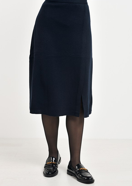 The skirt is dark blue