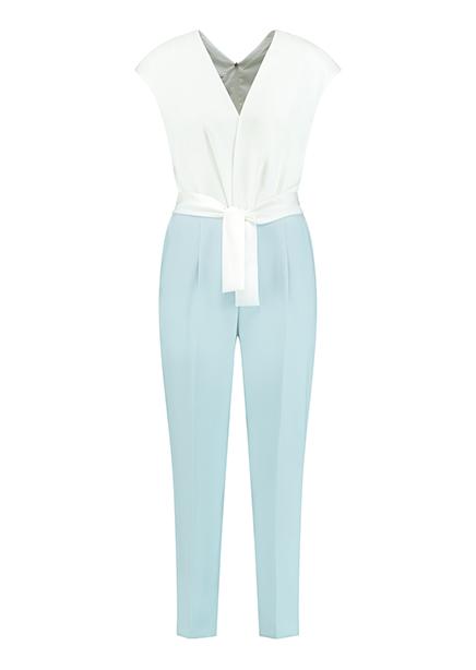 Overalls maxi b / r belt white-blue