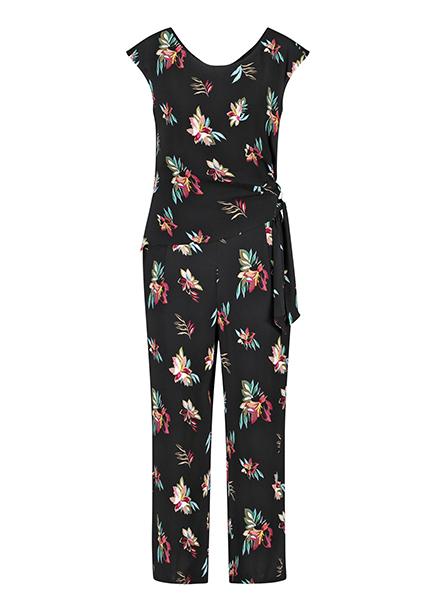 Jumpsuit maxi black print flowers