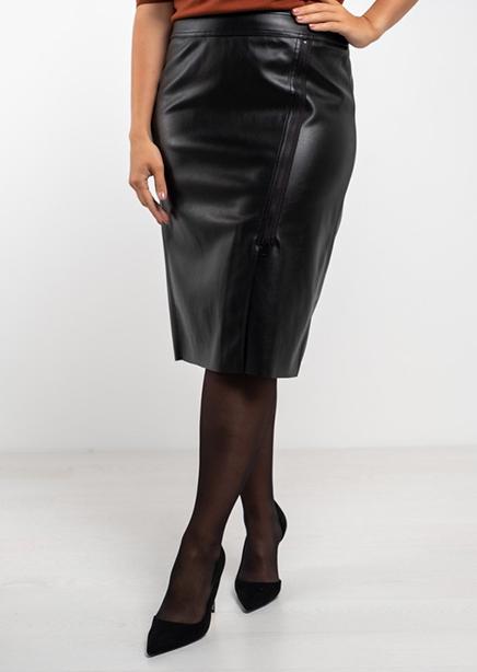 Skirt black eco leather