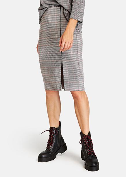 Midi skirt gray check