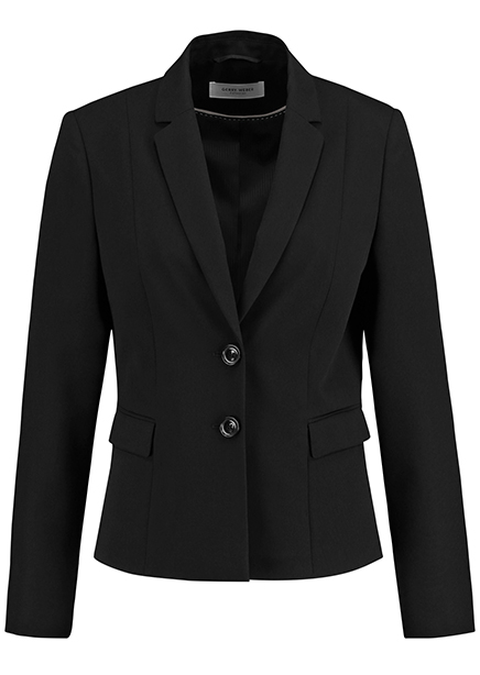 The jacket is black
