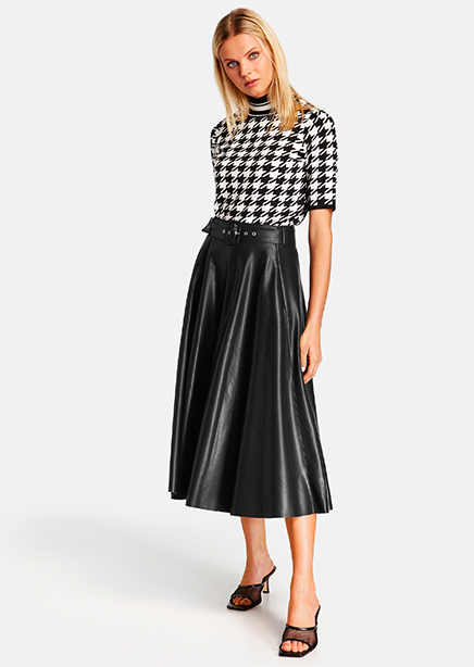 Skirt black eco-leather